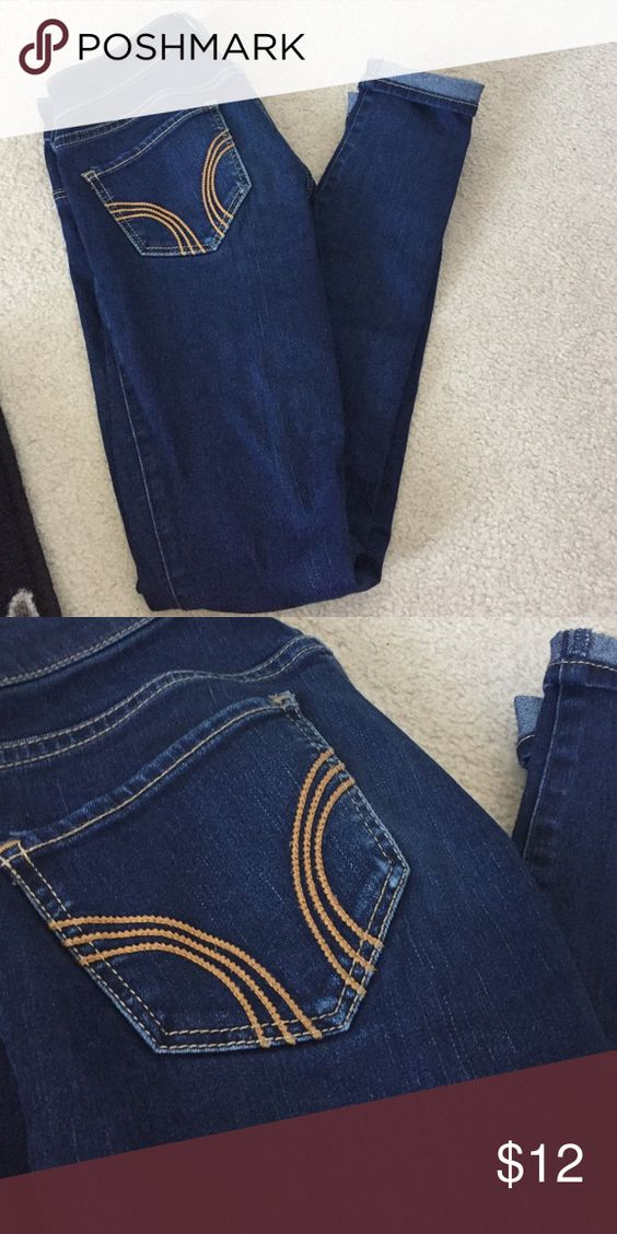 Dark wash Super skinny Hollister jeans Dark wash super skinny Hollister jeans. No rips or tears!! Size - 00R Hollister Jeans Skinny