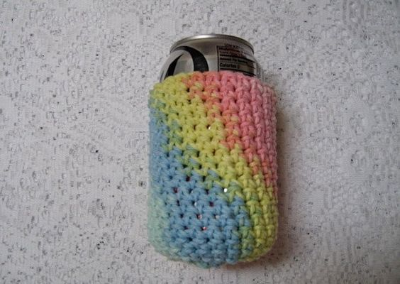 Rainbow Pastel Can or Water Bottle Cozy by TimeForCrochet on Etsy, $3.00