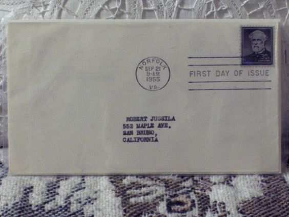 http://ajunkeeshoppe.blogspot.com/  First Day Issue / Cover - Stamp - Robert E. Lee 1955 30c 8ozP725B4HP1139
