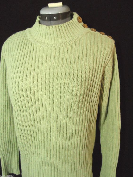 ALPS Ribb knit Sweater Top womens M Mint Green Mock neck long slv Button collar in Clothing, Shoes & Accessories, Women's Clothing, Sweaters | eBay