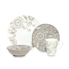 Wish List...Fleur Taupe 16-Piece Dinnerware Set
