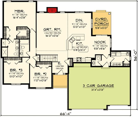 Ranch home plans ranch homes and home plans on pinterest for Three bedroom house plans with bonus room