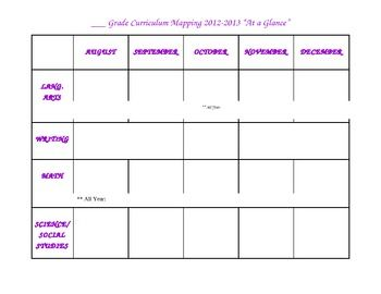 """Curriculum Map """"At a Glance"""""""
