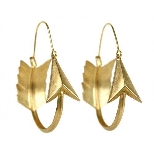 Brass Arrow Hoop Earrings $48.00