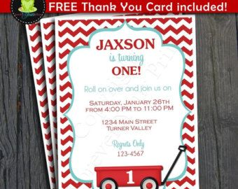 Little Red Wagon Invitation - FREE Thank You Card included