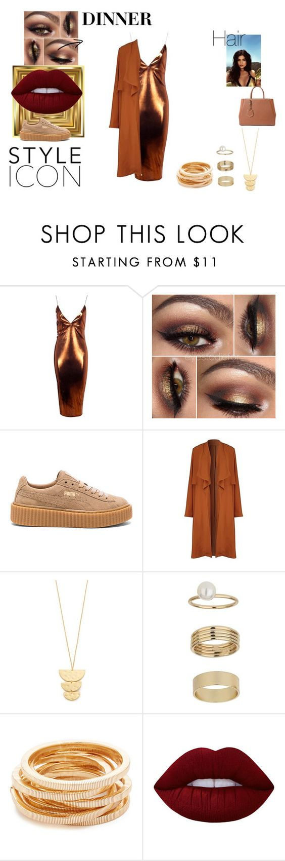 """Dinner: NY"" by danmoreira4 ❤ liked on Polyvore featuring Boohoo, Puma, Topshop, Gorjana, Miss Selfridge, Kenneth Jay Lane, Lime Crime and Fendi"