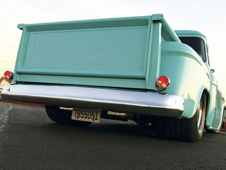 A custom 1955 Chevy Pickup built by Harold Davis - Custom Classic Trucks Magazine