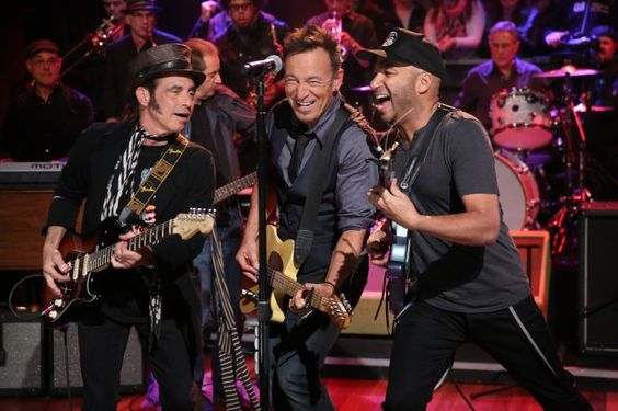"The Boss and friends. Bruce Springsteen gets some help on the mike from his E Street Band buddy Nils Lofgren and Tom Morello during a performance on ""Late Night With Jimmy Fallon"" on Jan. 14 in New York"