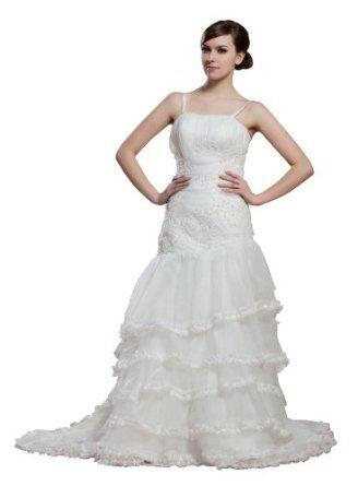 herafa Mermaid Long Dress Rows of Lace w35897