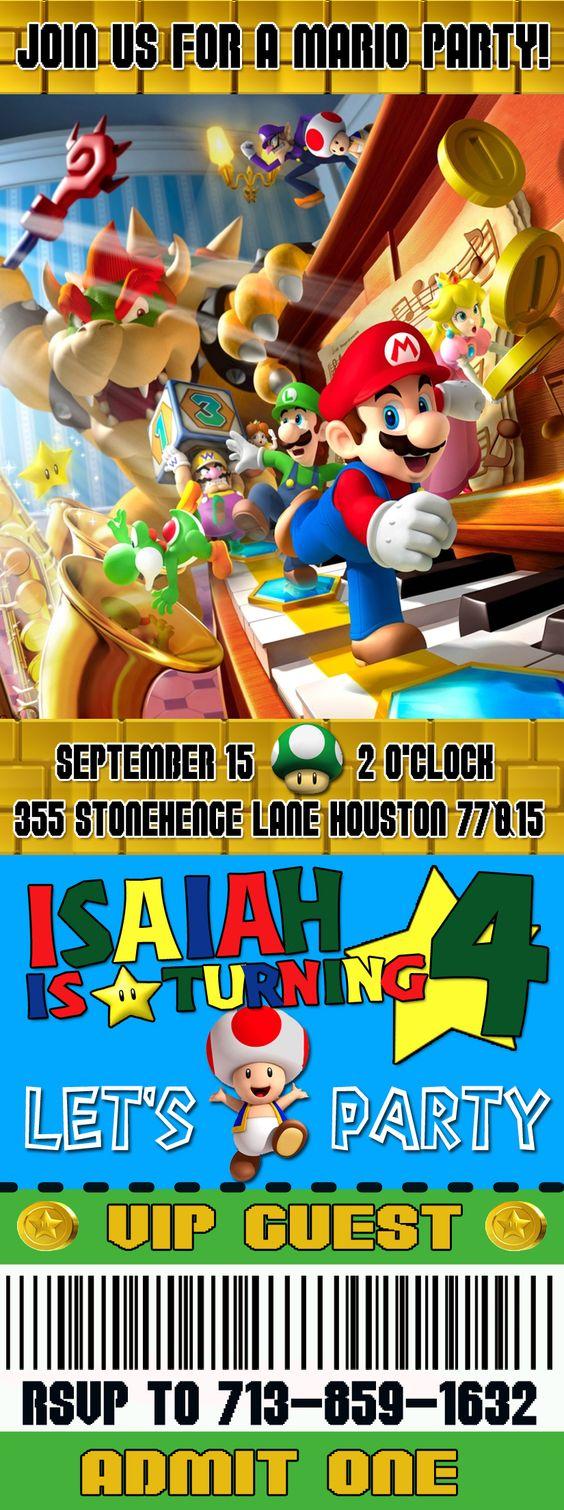 Mario Bros Event Ticket invitation – Event Ticket Ideas