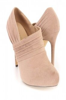 Taupe Pleated Ankle Booties Faux Suede
