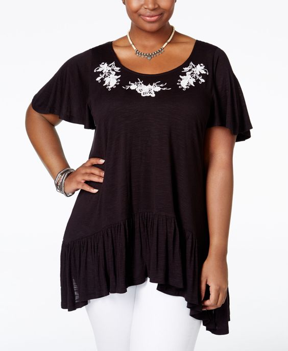 American Rag Plus Size Embroidered Handkerchief-Hem Top, Only at Macy's