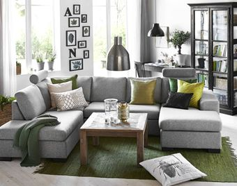 Inredning soffor mio : Memphis 3-sits soffa med divan och schäslong i tyg Flash salt ...