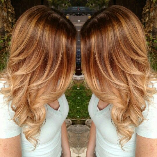 Kupfer balayage and verl ngerungen on pinterest for Balayage braun caramel