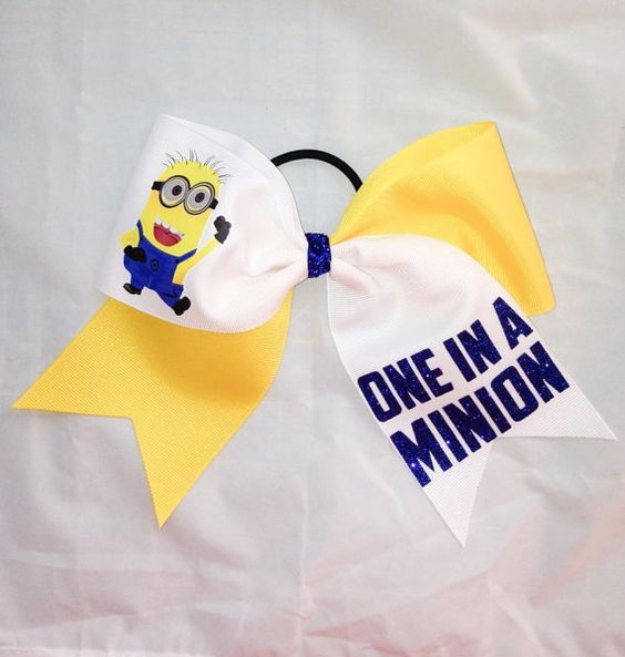 One In A Minion Cheer Bow by CheerDivaCouture on Etsy, $12.00