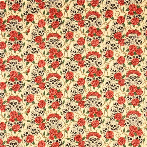 beige Alexander Henry roses and skulls fabric 2