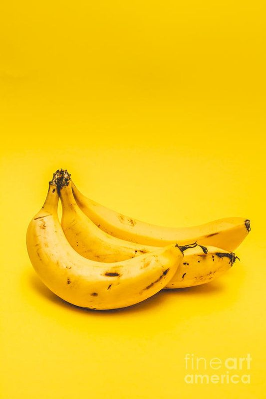 Bananas Art Print featuring the photograph Bananas On Yellow Background by Jorgo Photography - Wall Art Gallery