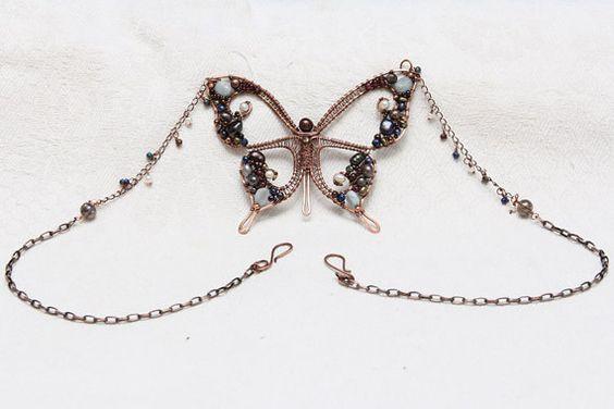 Butterfly mosaic pendant butterfly jewelry fall gift by IrenAdler
