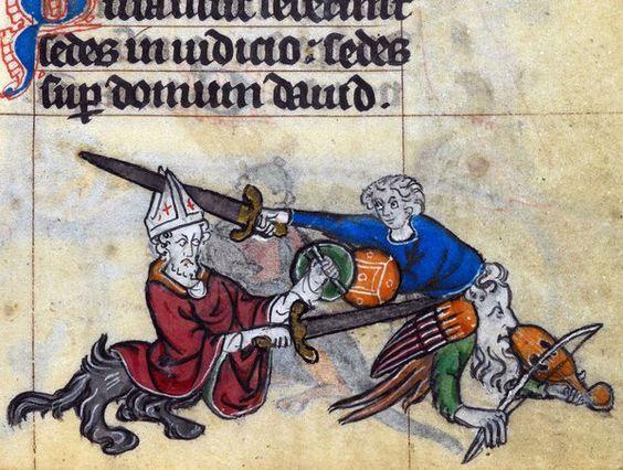 Bishop vs. fiddler, 'The Maastricht Hours', Liège 14th century (British Library, Stowe 17, fol. 160r)