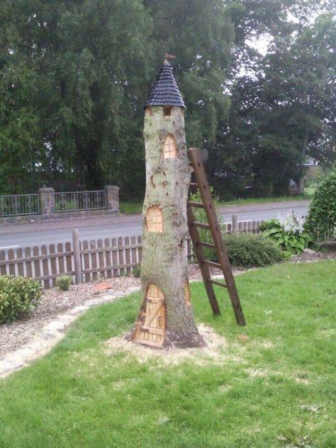 Idee Fur Einen Baumstumpf Bauanleitung Zum Selber Bauen Marchenbaumhauser Baumstamm Garten Marchenbaum
