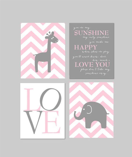 Baby girl Nursery decor pink and grey nursery elephant nursery giraffe nursery by fairplayprintables on Etsy