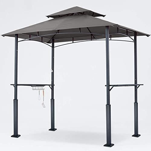 Buy Abccanopy 8 X 5 Grill Gazebo Double Tiered Outdoor Bbq Gazebo Canopy Led Light Dark Gray Online Fortrendytoprated In 2020 Bbq Gazebo Grill Gazebo Gazebo Canopy