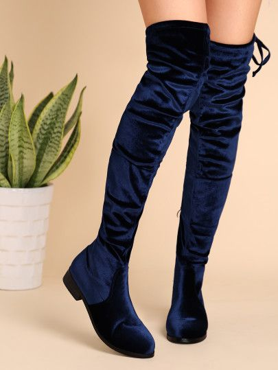 Navy Velvet Almond Toe Tie Back Thigh High Boots -SheIn(Sheinside) Mobile Site