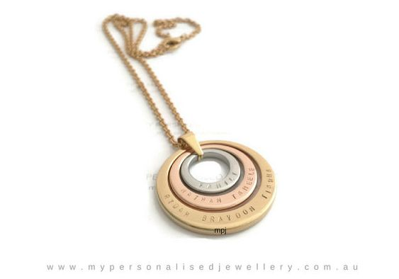 Personalised Handstamped Family Name Necklace for your mum, grandma, aunt or anyone you loved. This high grade premium necklace Stainless Steel Pendant is available in colour finish - Silver, Gold IP or Rose Gold IP.  This is thick and unique design with 3 tone colours. ♥ ITEM IN THIS LISTING♥  Pendants comes in range of 18mm, 26mm and 35mm. This pendant comes with a 46 cm 316 stainless steel chain. Thickness approximately 2.5mm.   ♥YOUR INSTRUCTION♥  Please specify your custom sayings and…