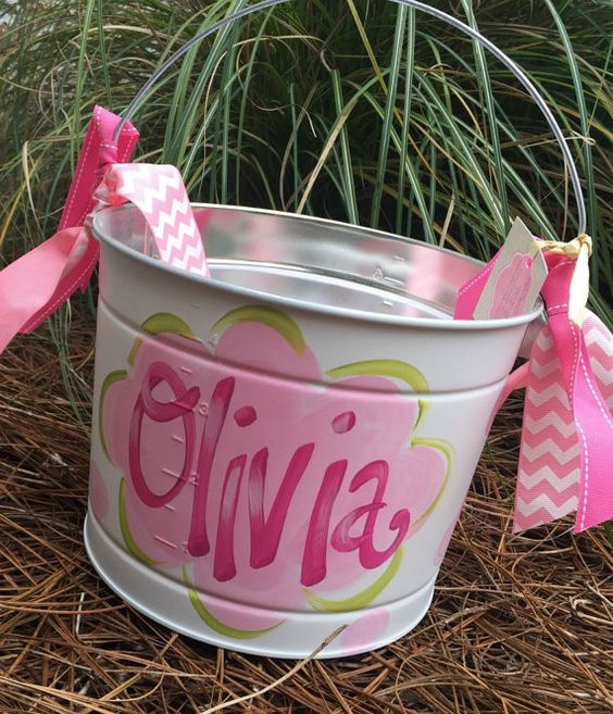 Easter Bucket, Personalized, Hand-Painted, Tin, Pail, Easter Pail ...