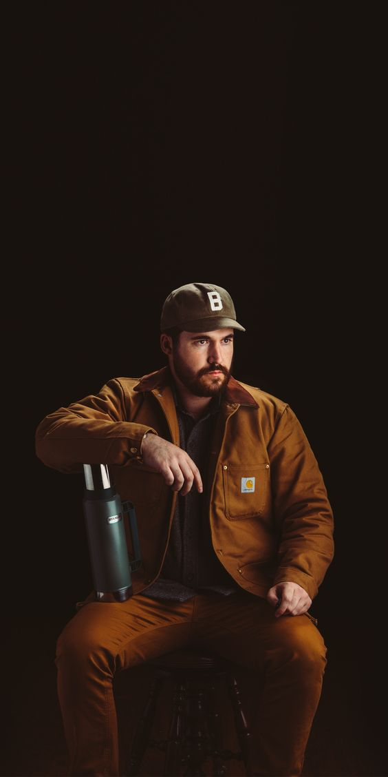 Carthartt chore coat, Stanley Thermos, Bradley Mountain Ball Cap. #stanleyness #bradleymountain #ruggedstyle #carhartt #chorejacket