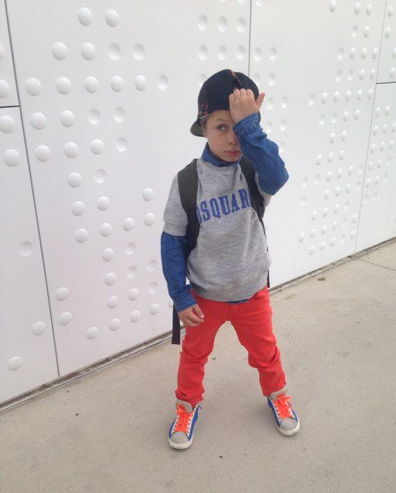 Cool Little Boy: Little Boys have that inborn style! Cool Little Boy: Os Little Boys têm um estilo inato!  Shop Dsquared2 Kids here: Conheça a Colecção Dsquared2 Kids aqui:  http://bit.ly/1paQus3  #fatimamendes #kids #dsquared2 #style