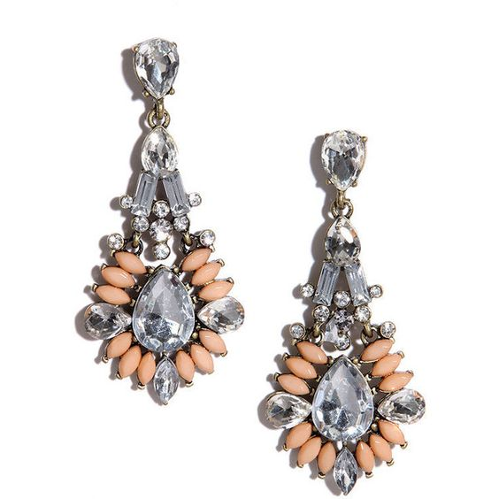 Marquise, Please Peach Rhinestone Earrings (€8,41) ❤ liked on Polyvore featuring jewelry, earrings, pink, pandora jewelry, clear crystal earrings, vintage rhinestone jewelry, peach earrings and rhinestone stud earrings