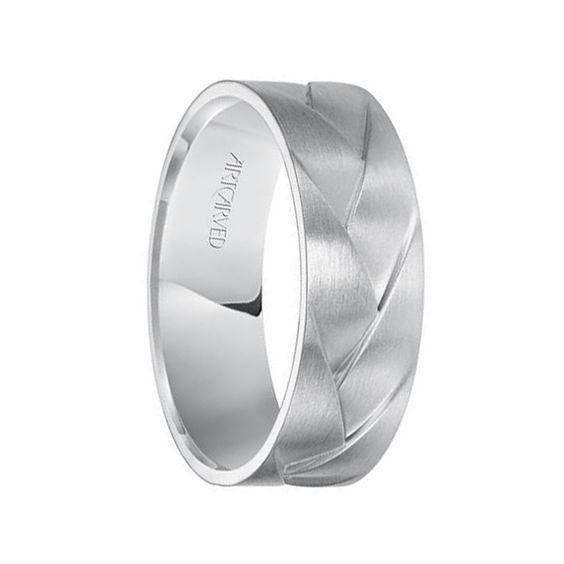 WADE 14k White Gold Wedding Band Braided Woven Design Satin Brushed Finish Flat Edges - 7 mm