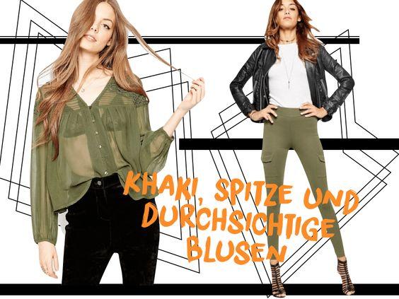 How to Wear ▶︎▶︎▶︎ Khaki, Spitze und durchsichtige Blusen