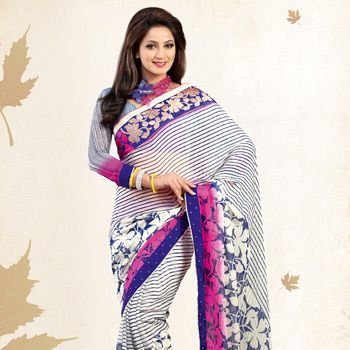 Off White and #Blue Faux Chiffon #Saree with Blouse