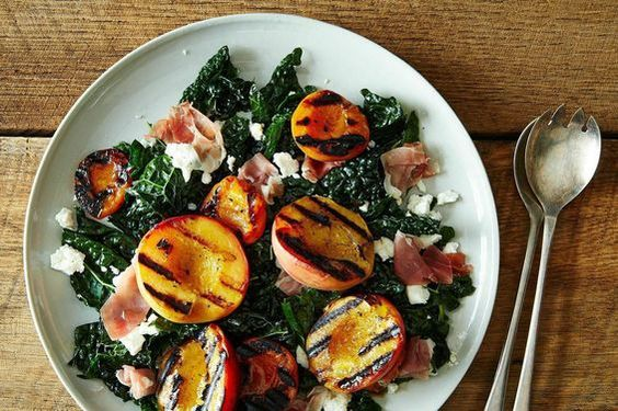 A Kale Salad with Grilled Stone Fruit, Prosciutto, and Feta on Food52