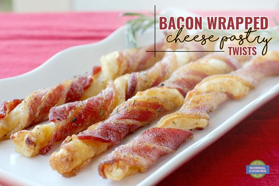 Bacon Wrapped Cheese Pastry Twists - these are the perfect appetizer to serve at Thanksgiving and Christmas parties! Puff pastry, cheese, bacon, glazed with brown sugar and rosemary, what's not to love?! These are always a HUGE hit!