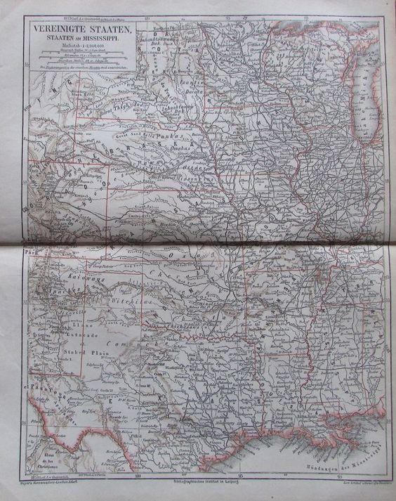 VEREINIGTE STAATEN AM MISSISSIPPI 1878 Alte Landkarte Lithographie Old Map USA
