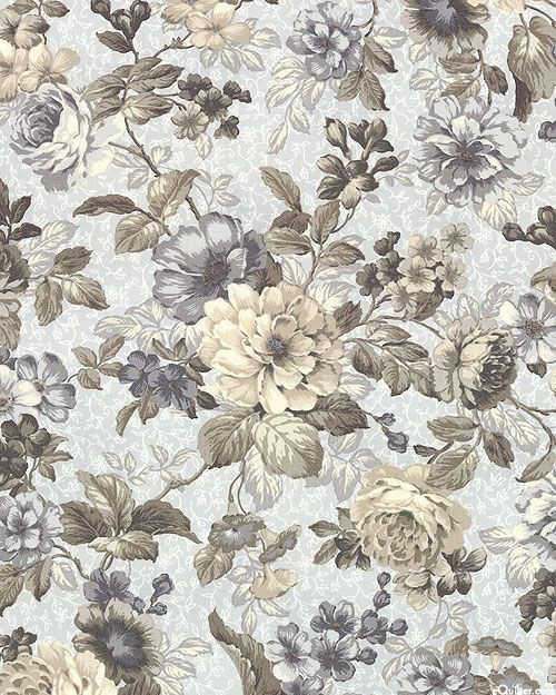 Mayfield Rococo Florals Powder Gray Quilt Fabrics From Www Equilter Com Rococo Art Flower Artwork Flower Art
