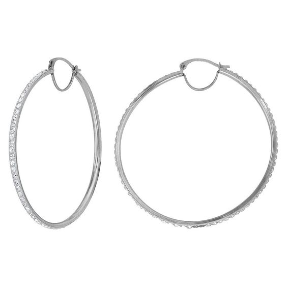 Woman's Silver Plated 35X33 MM Crystal Hoop Earring - White, Women's, Silver Gray
