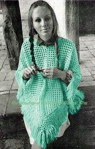 1960 Vintage Pattern  Shawl Poncho Crochet by GrandmaHadItGoinOn