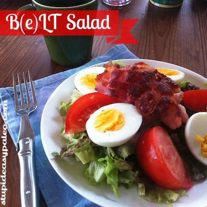 Simple...B(e)LT Salad...bacon, eggs, lettuce and tomato. #paleo #bacon ...