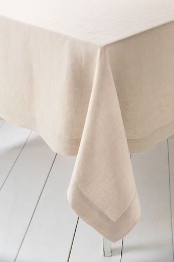 natural linen table cloth: