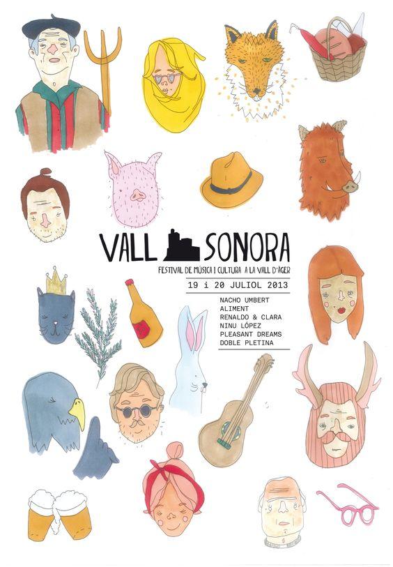 Vallsonora. Festival de música i cultura a la Vall d'Àger. 19 i 20 juliol de 2013 Il·lustració: AL/MA