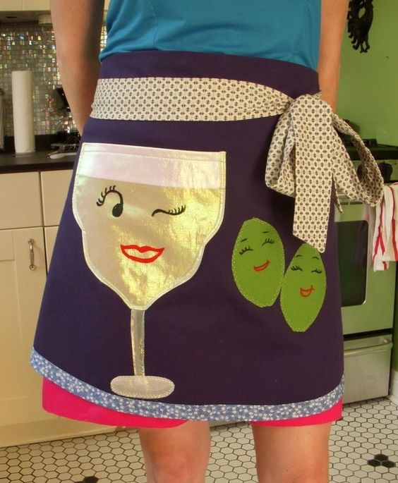 One of a kind Apron Saucy Margarita Glass Handmade by snappyshop, $45.00. how cute is this apron! @Kelly McCants