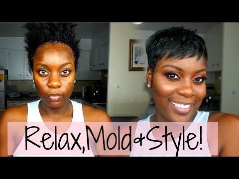 Relaxer Mold Style At Home Beginner Friendly Short Hair Tutorial Youtube Short Hair Tutorial Short Hair Styles Hair Tutorial