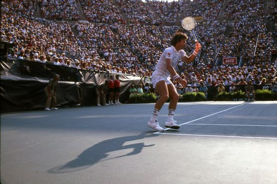Jimmy Connors in action during the 1983 US Open in Louis Armstrong Stadium.