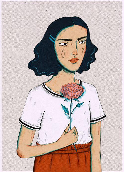 menina segurando uma rosa com as mãos