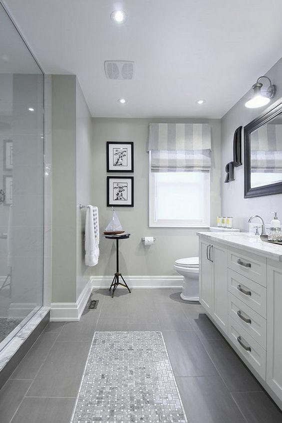 Master Bathroom Grey Tiles, 65 White Bathroom Vanity