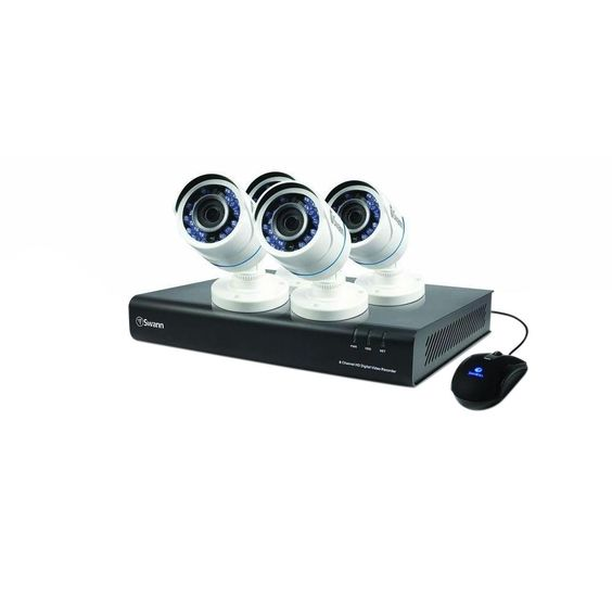 Swann 8-Channel TVI 720p DVR with 1TB Hard Drive and 4 x T845 Bullet White Cameras